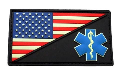 AMERICAN FLAG MEDIC PATCH (PVC) (GLOW IN THE DARK)