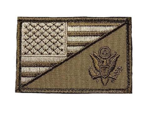 AMERICAN FLAG / ARMY EAGLE PATCH (EMBROIDERED HOOK) (GREEN)