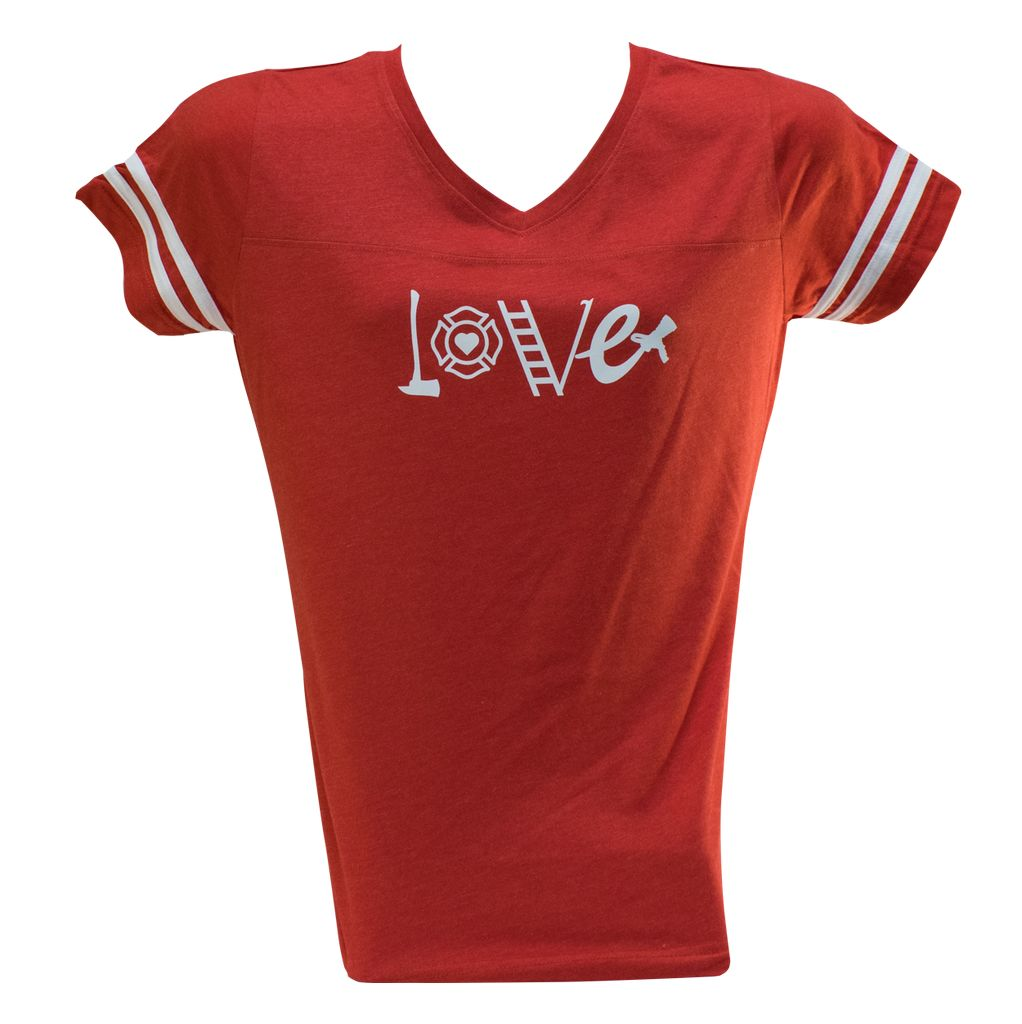 Women's V Neck Jersey Tee w/ FF Love