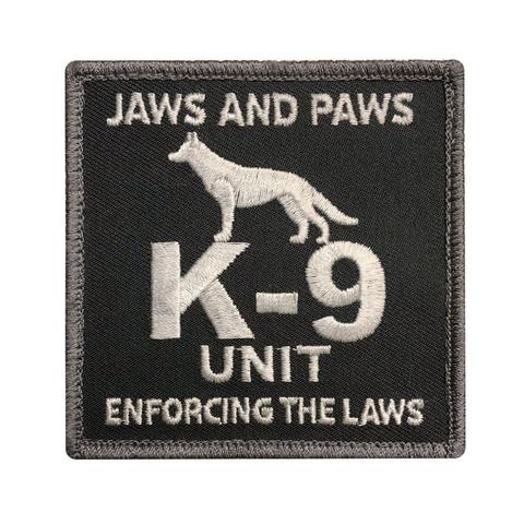 K-9 UNIT JAWS AND PAWS PATCH (EMB) (GREY)