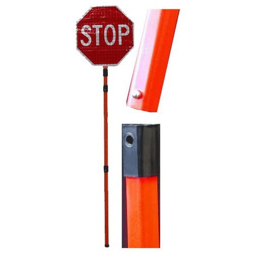 "18"""" Superbright Roll up sign (Stop/Slow) with 3 piece pvc poll  made by Dickies"