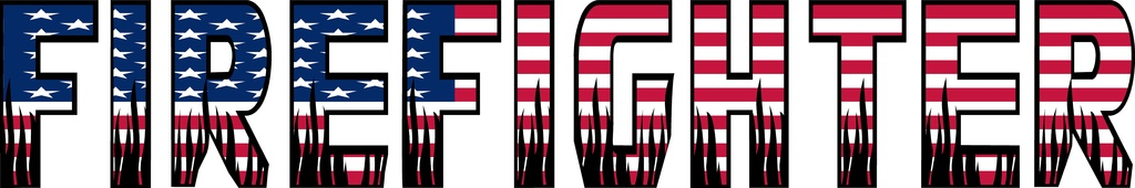 """Firefighter Text  USA Flag with Black Flames Md Decal ~ 24"""" x 4"""""""