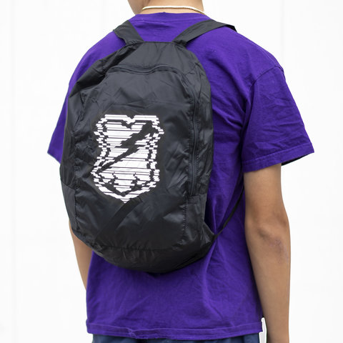 MASH Packable  Backpack Black Glitch