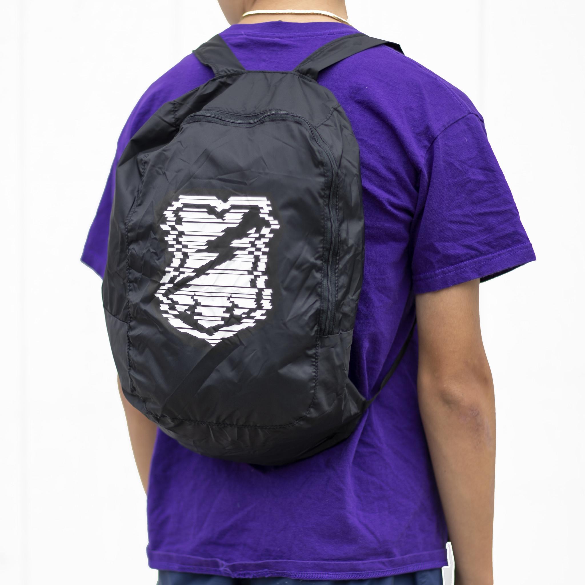MASH Packable  Backpack Black Glitch