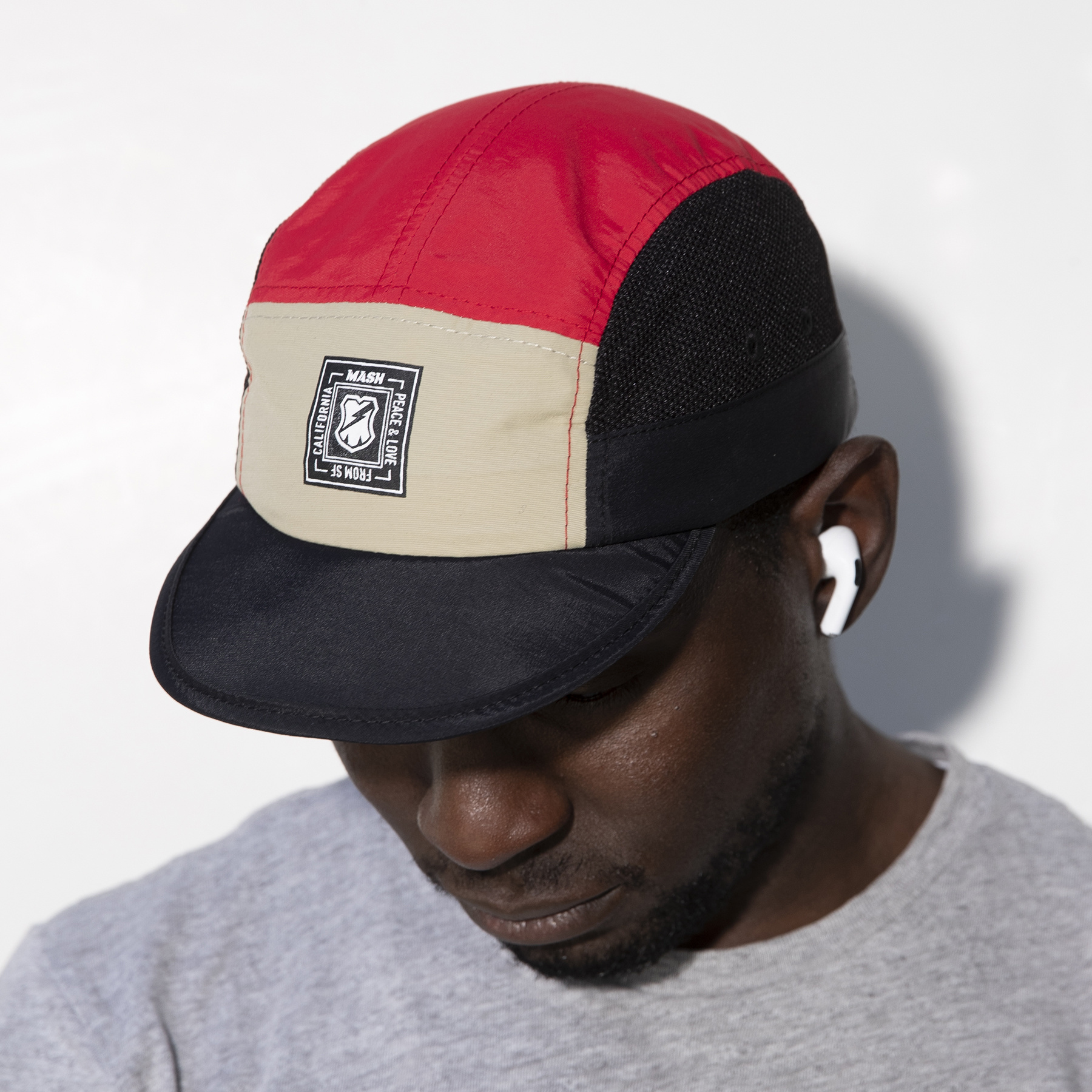 MASH FOLDABLE HAT Black Tan Red
