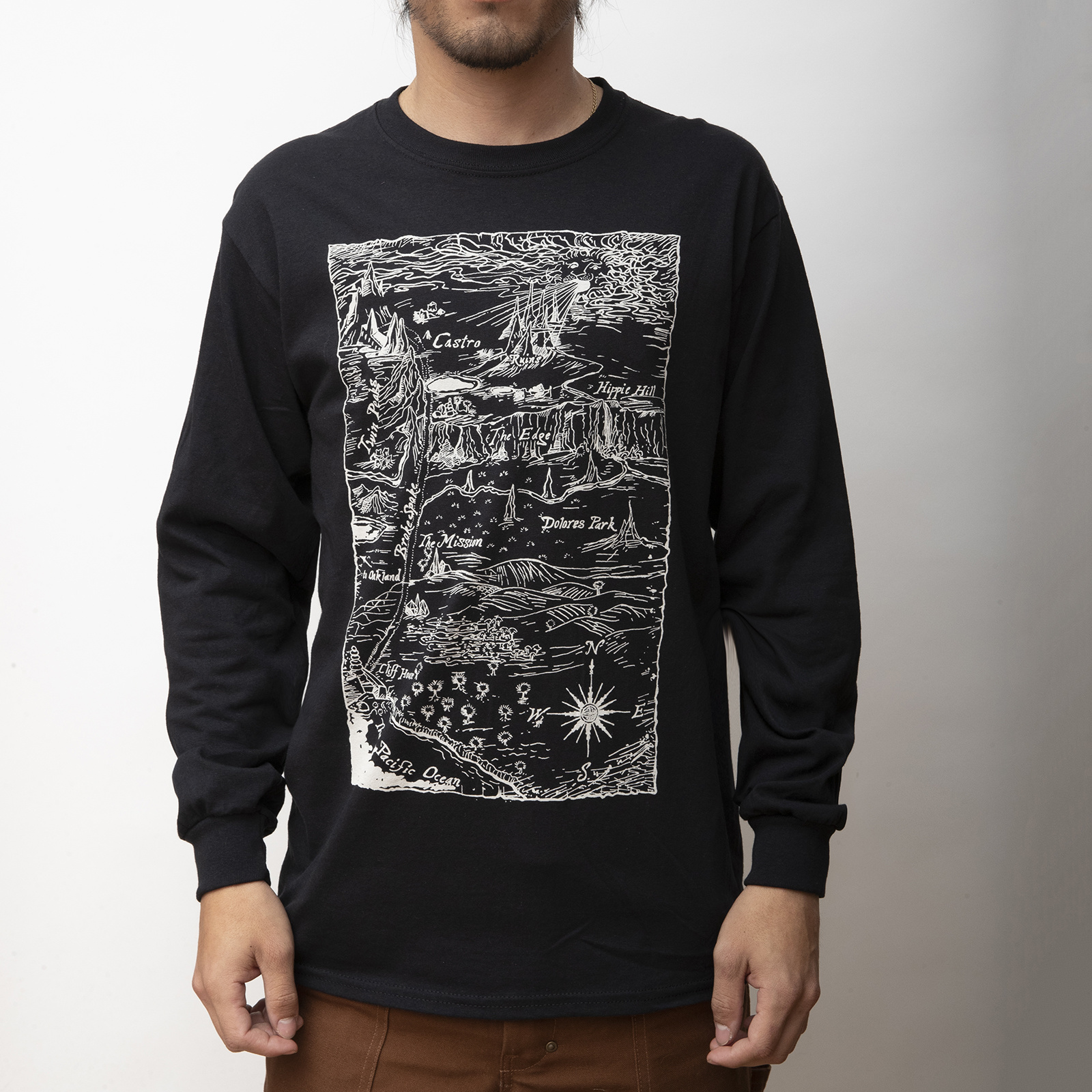 MASH Ruins Long Sleeve Shirt Black with Bleach