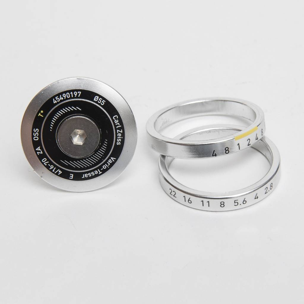 Zeiss Top Cap and 1 1/8 Spacers Set Silver