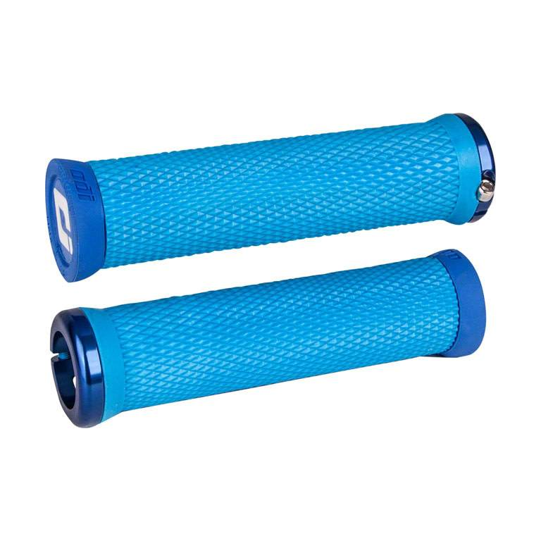 ODI Elite Motion Lock-On Grips Light Blue with Blue Clamps