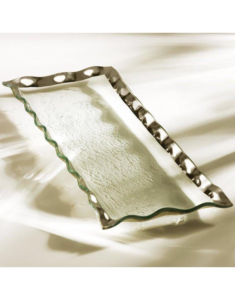 Annie Glass Annie Glass-Ruffle 17.5x6.5 Rectangular Tray