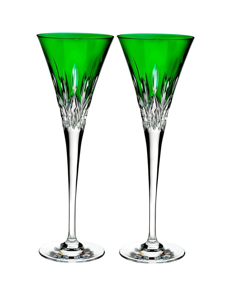 Waterford Lismore Pops Emerald Toasting Flute-Pair