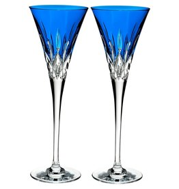 Waterford Lismore Pops Toasting Flute Cobalt-Pair