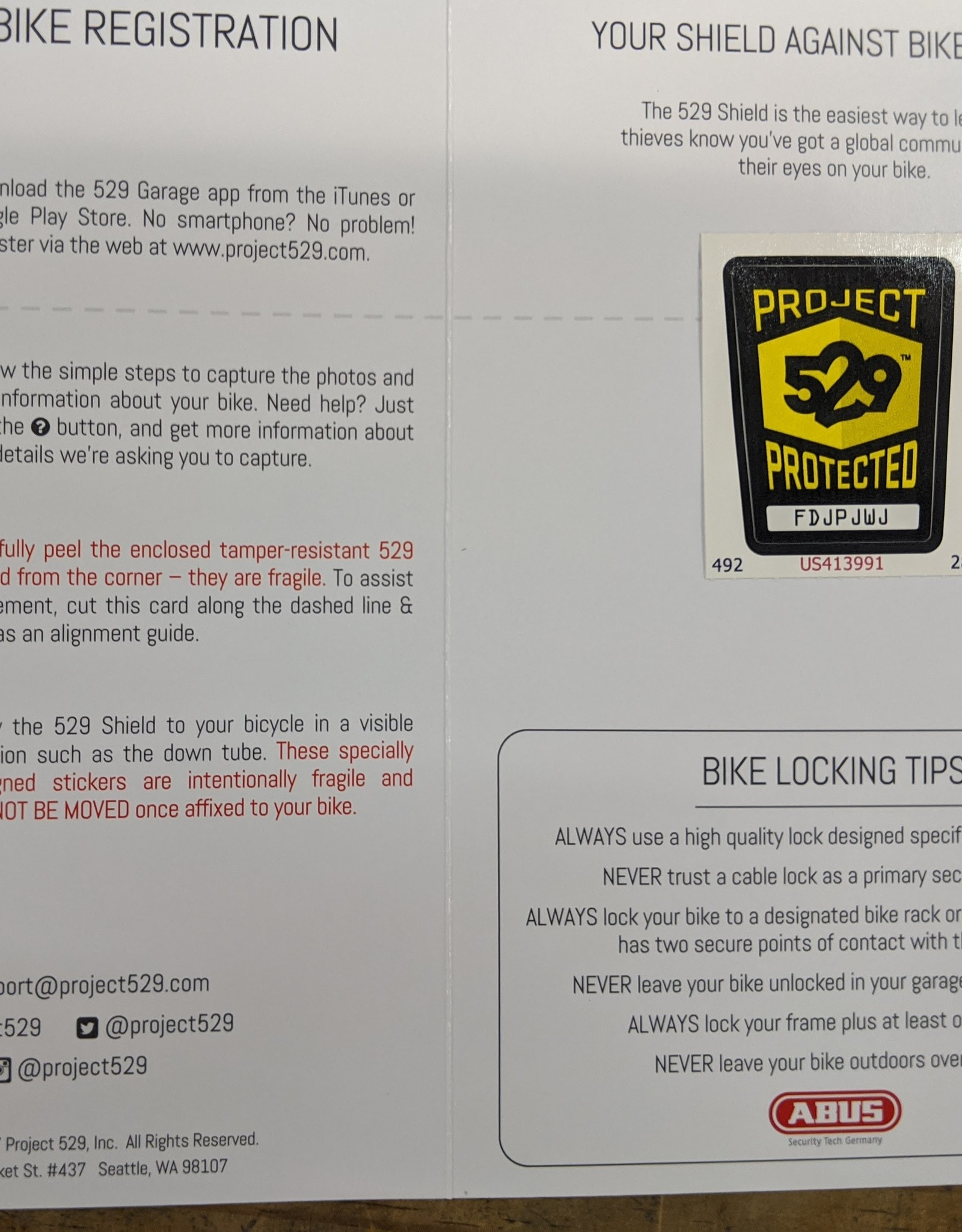 Project 529 529 Shield (Bicycle Registration Kit) (single bike)