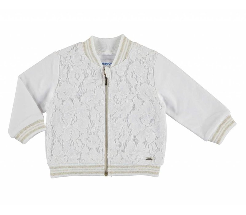 Mayoral Lace Zip-up Cardigan, CR