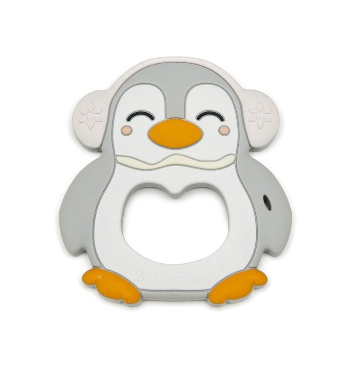 Loulou Lollipop LOULOU LOLLIPOP SILICONE TEETHER-GRAY PENGUIN