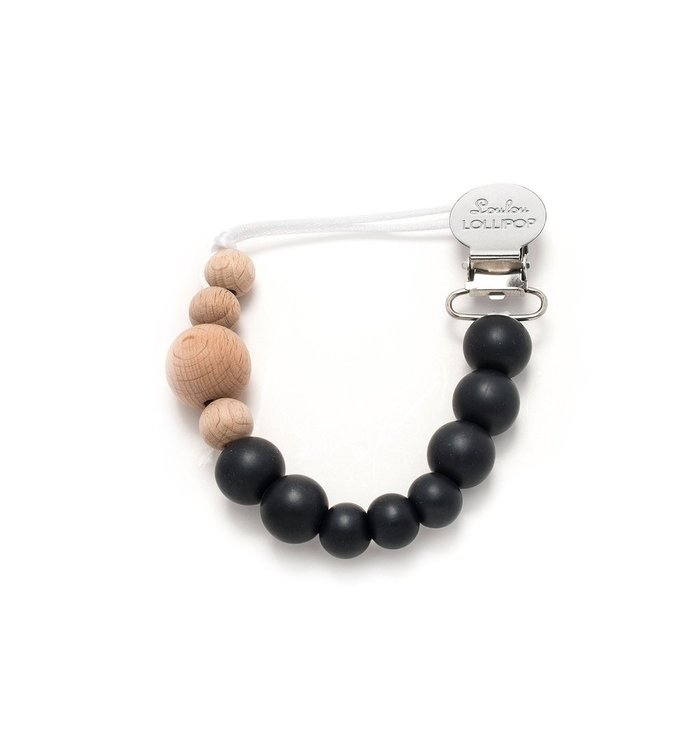 Loulou Lollipop LOULOU LOLLIPOP SILICONE & WOOD PACIFIER CLIP-BLACK