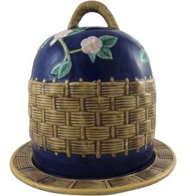 Blue Majolica Cheese Dome w/ Base