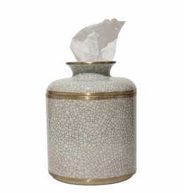 Dessau Home White Crackle Tissue Box
