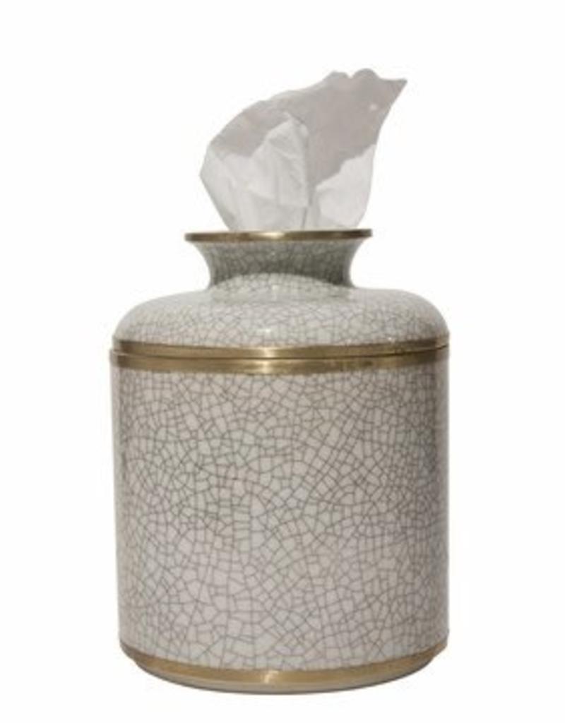 Dessau Home White Crackle Tissue Box