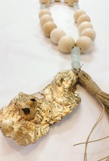 Natural Wooden Blessing Beads w/ Tassel & Oyster Shell