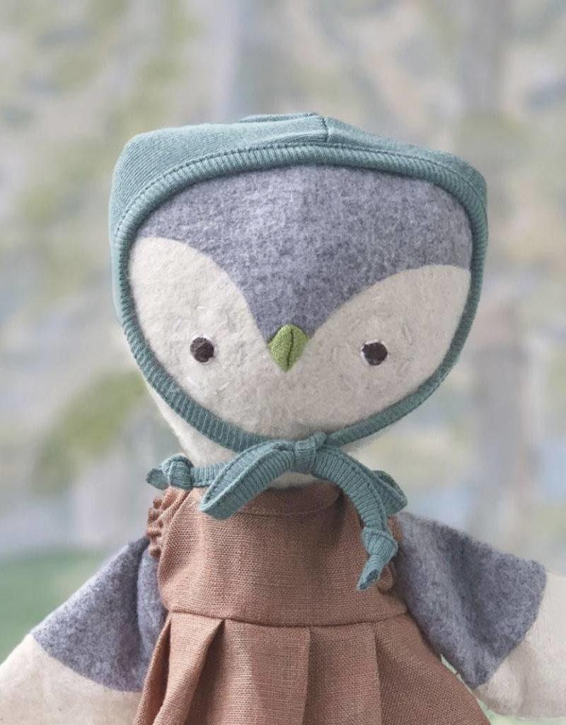 Hazel Village Lucy Owl in Clay Linen Dress and Bonnet