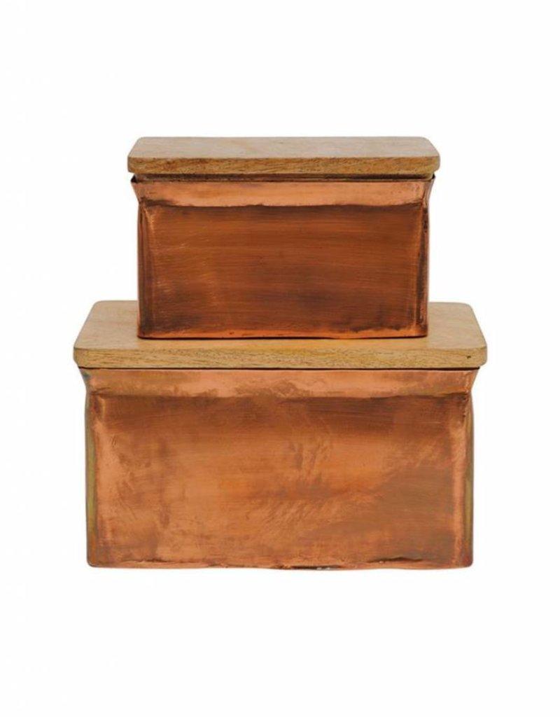 "Metal Recipe Box Copper Finish 8"" x 5"" (Large)"