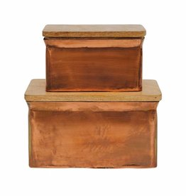 "Metal Recipe Box Copper Finish 6"" x 4.25"" (Small)"
