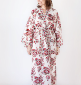Long Cotton Kimono Robe in Blossoms Red