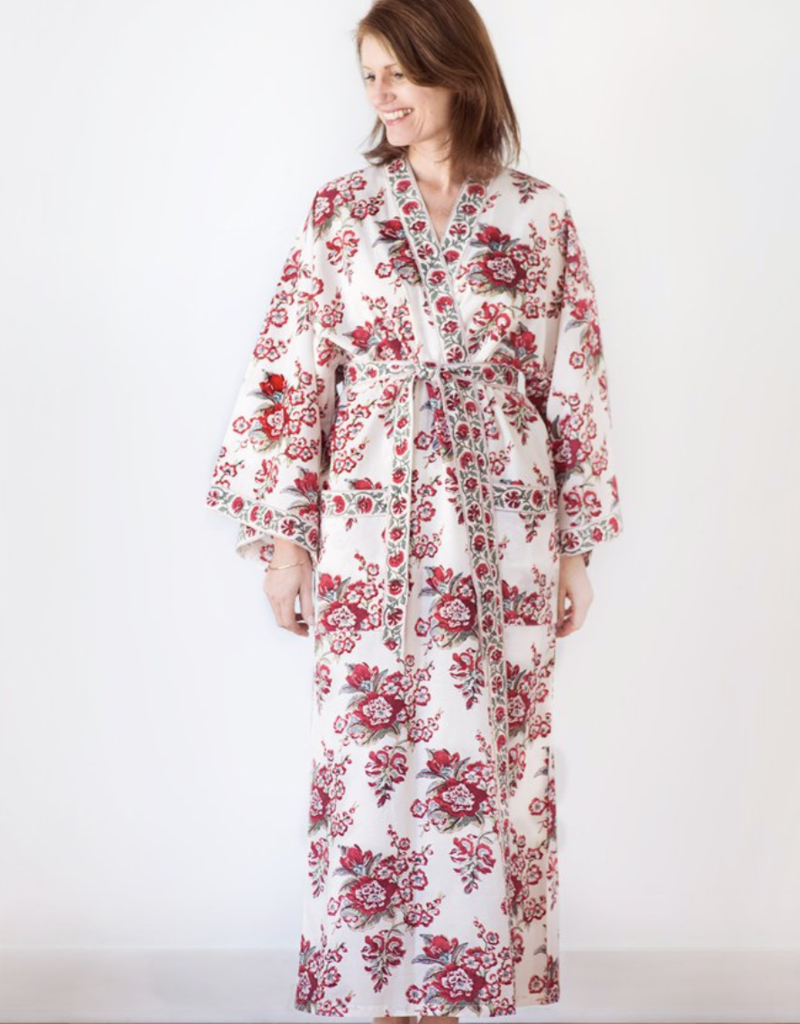 Long Cotton Kimono Robe in Blossoms Red