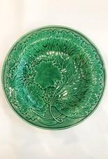 Vintage English Green Majolica Plate Green Grape Leaf