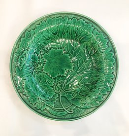 English Green Majolica Plate Green Grape Leaf