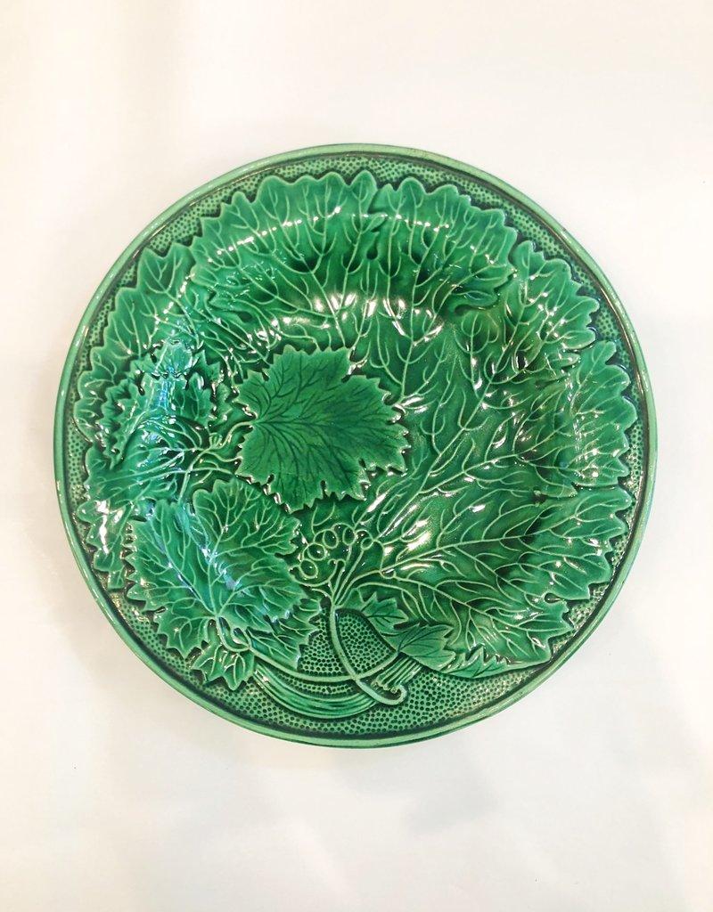 English Green Majolica Plate Green Grape Leaf