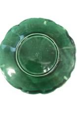 Vintage English Green Majolica Plate Dark Green Lettuce Spiral
