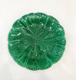 Vintage English Green Majolica Plate Dark Green Lettuce Spiral