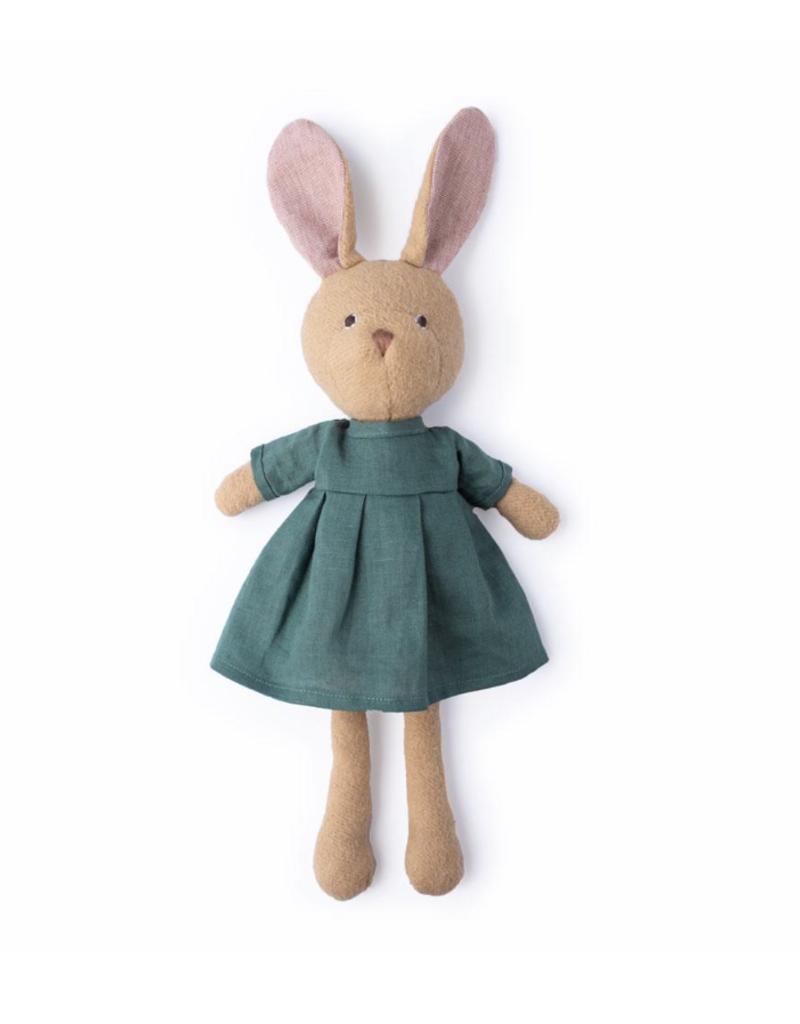 Hazel Village Juliette Rabbit in River Green Linen Dress