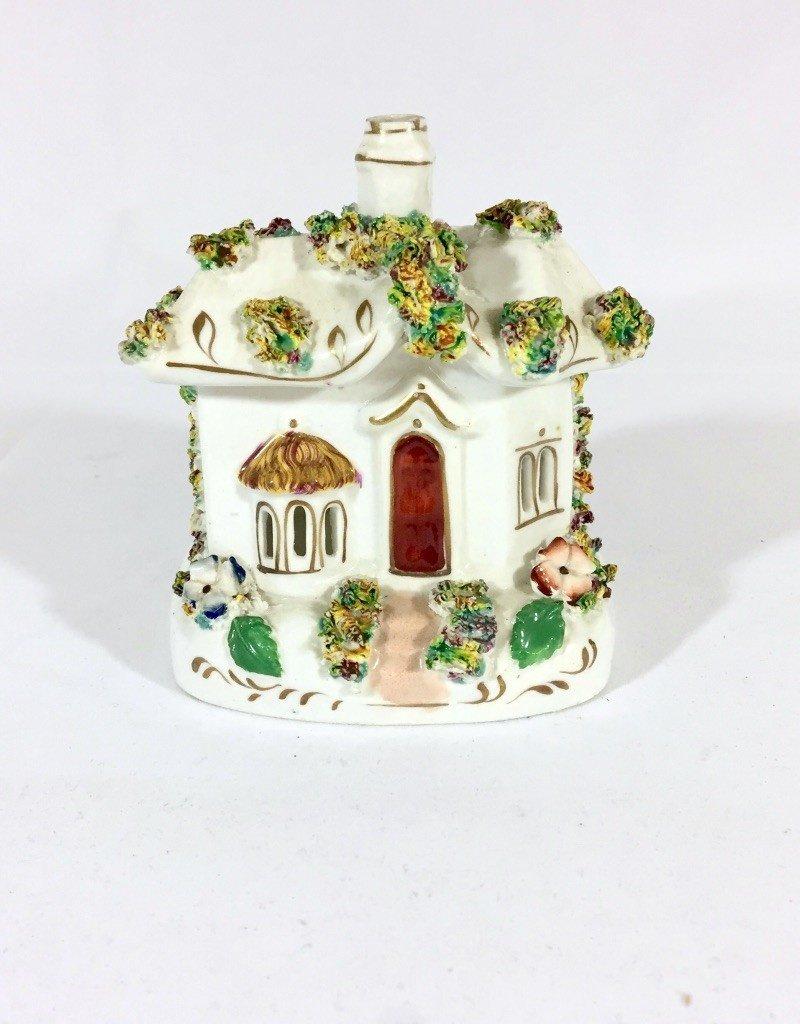 Vintage Petite Porcelain Cottage - Gold Accents