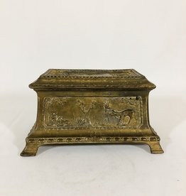 Antique Metal Lidded Box - Hunt Scene
