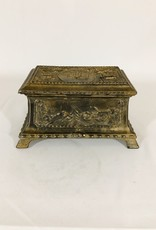 Vintage Antique Metal Lidded Box - Hunt Scene