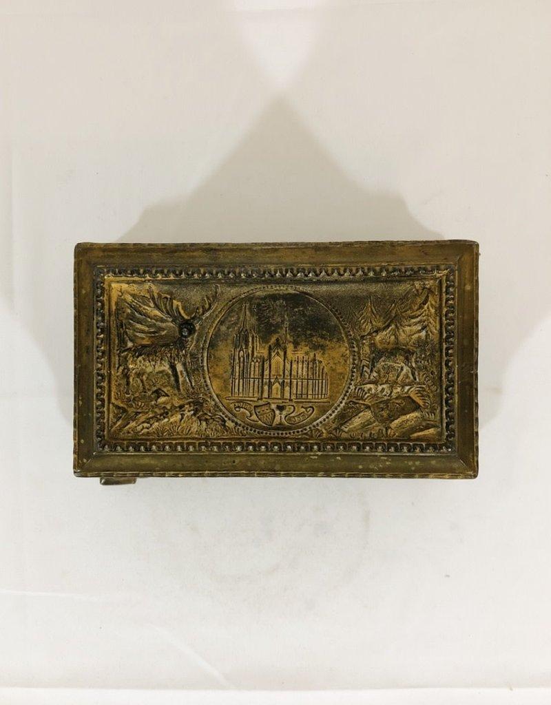 Vintage Antique Metal Lidded Box - Hunt Scene