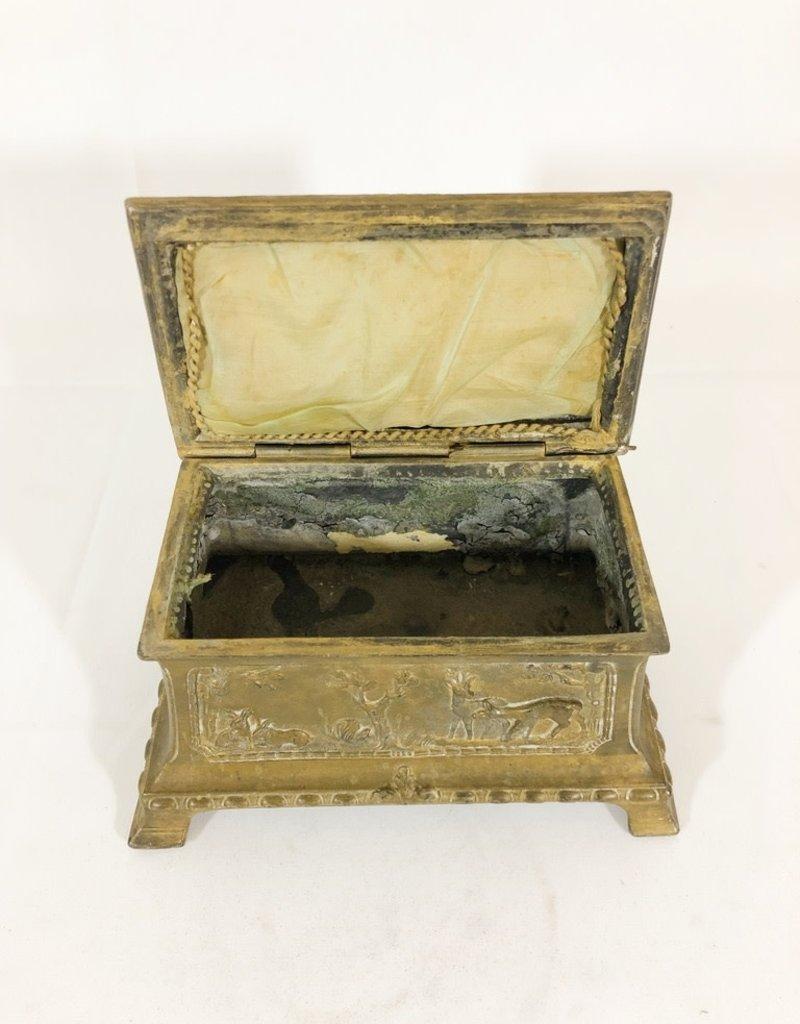 Antique Metal Lidded Box - Hunt Scene