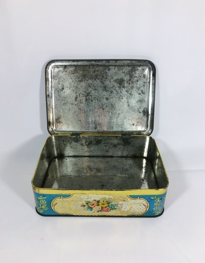 Vintage Floral Turquoise Tin