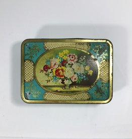 Vintage 1970's Shabby Chic Floral Biscuit Tin