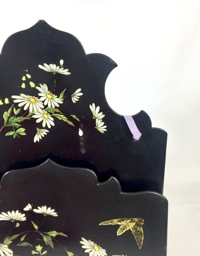 Vintage Paper Mache Floral Letter Keeper