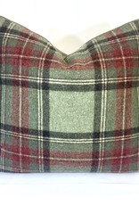 English English Wool Pillow - Green & Red Plaid