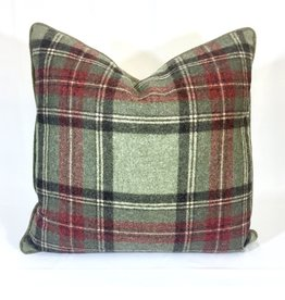 English Wool Pillow Sham - Green & Red Plaid