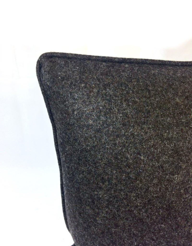 Vintage English Wool Pillow - Dark Brown