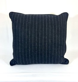 English Wool Pillow Sham - Charcoal & White Stripes