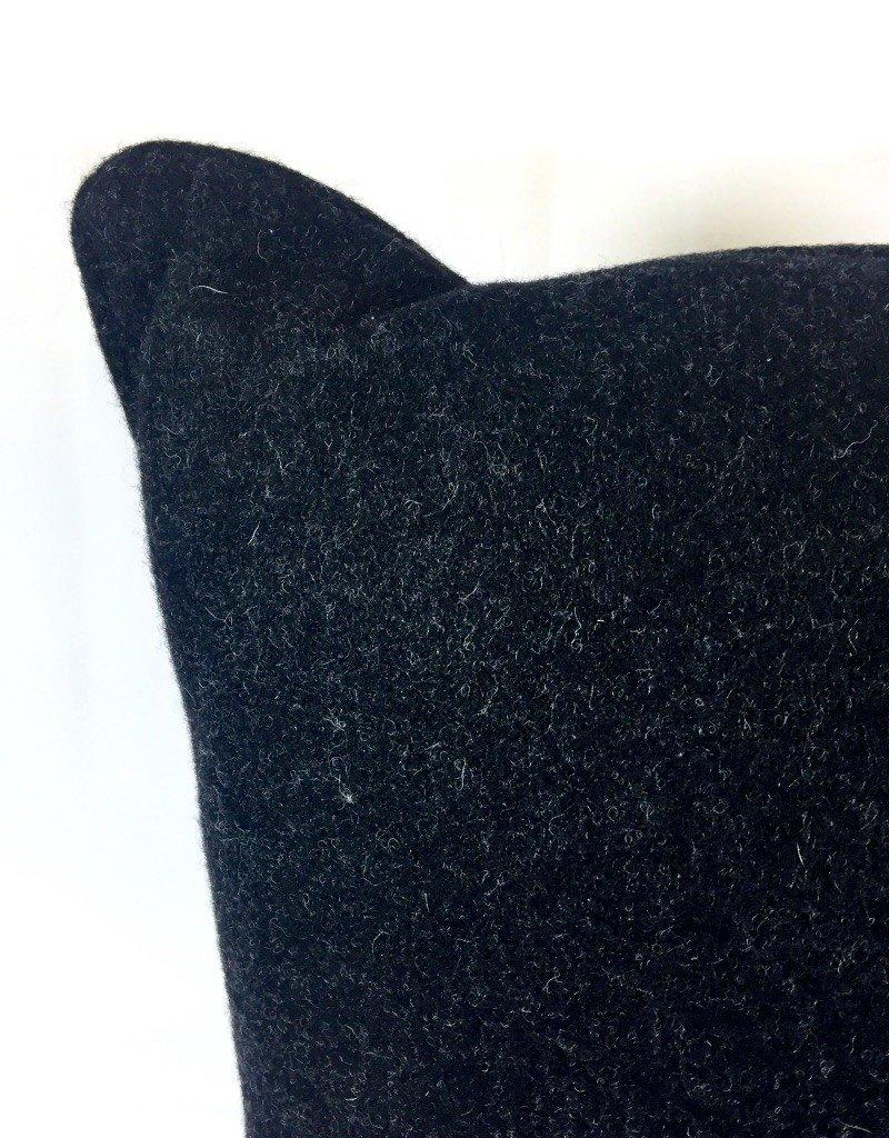 English English Wool Pillow - Charcoal & White Stripes