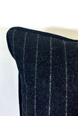 English Wool Pillow - Charcoal & White Stripes