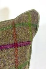 English English Wool Pillow - Tan, Green & Pink Plaid