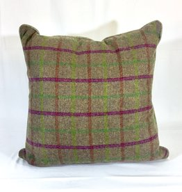 English Wool Pillow Sham - Tan, Green & Pink Plaid